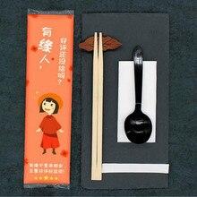 Одноразовые палочки для еды одноразовые бамбуковые палочки для кемпинга палочки для еды с бумажным полотенцем зубочистка пластиковая ложка 50 компл./лот