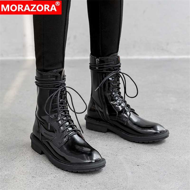 MORAZORA 2020 top quality genuine leather shoes women ankle boots zip autumn winter Knight boots low heels casual shoes woman