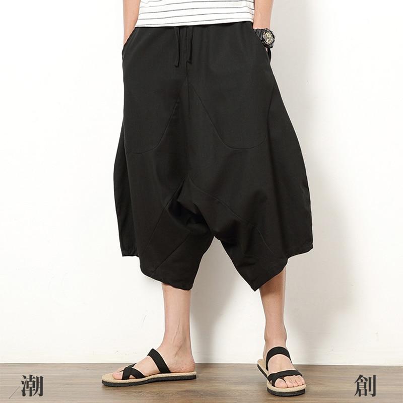 Men's Summer Plus Size Cotton Linen Shorts Pocket Vintage Hip Hop Knee Length Big Yards Casual Shorts High Waist Oversize 5XL