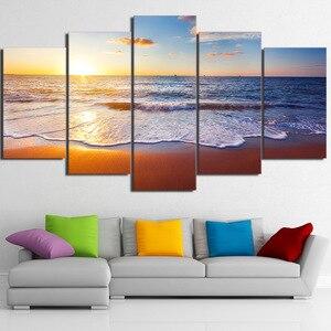 Arte da parede poster moderna casa decoração sala de estar quarto 5 peças mar praia pôr do sol paisagem impressão em tela quadro modular
