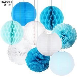 Image 1 - 9pcs/lot Paper Flower Pom Poms/Honeycomb Balls/Paper Lantern Hanging Decoration Wedding Baby Shower Birthday Party Engagement