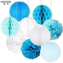 Poms fleur en papier, boules en nid dabeille, lanternes en papier suspendues décoration pour mariage, fête prénatale, anniversaire, fiançailles, lot de 9 pièces