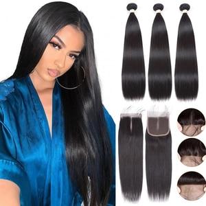 Luvin бразильские натуральные кудрявые пучки волос с закрытием прямые человеческие волосы пучки волос с фронтальной 4X4 Кружева Закрытие