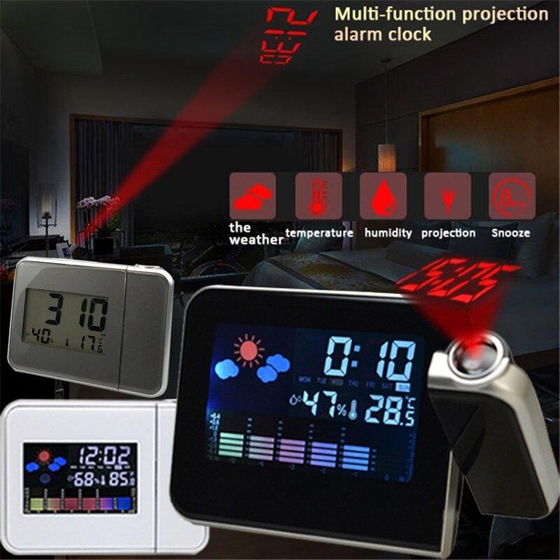 Светодиодный Будильник проекционные часы с термометром и гигрометром декоративные часы для Беспроводной Погодная станция цифровые часы П...