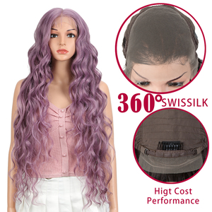 Magic 360 Synthetic Lace Front Wigs 36 Inch Supper Long Deep Natural Wave Ombre Blond Color Hair Wigs For Black Women Fashion