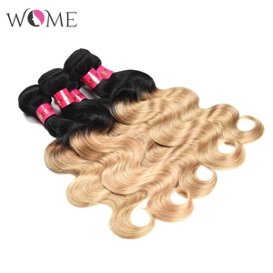 Image 2 - WOME Pre colored Brazilian Body Wave Hair Bundles Ombre Human Hair Bundle Honey Blonde 1b/27 1b/30 Two Tone Sew in Non remy Hair