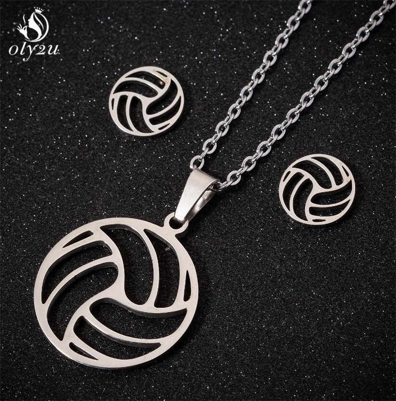 Collier de Volley-Ball en acier inoxydable Oly2u pour femmes Collier Femme Volley Ball sport ventilateur colliers pendentifs bijoux de charme