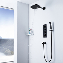 Black Thermostatic Shower Faucets Rainfall Showerhead Waterfall  Bathroom Shower Brass Water Spout Faucet Tap wall mounted rainfall waterfall showerhead black brass mixer valve bathroom shower mixers shower set thermostatic faucets