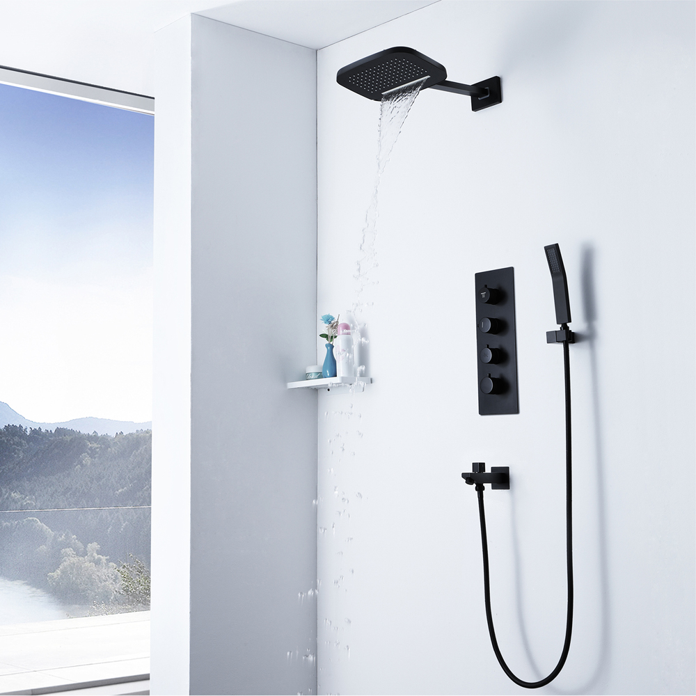 Black Thermostatic Shower Faucets Rainfall Showerhead Waterfall Bathroom Shower Brass Water Spout Faucet Tap