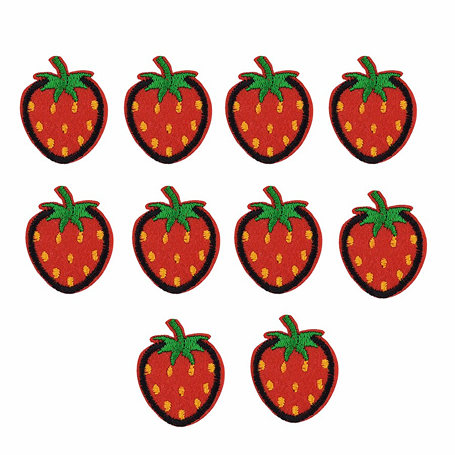 10 PCS Strawberry <font><b>Patch</b></font> DIY Fruit Clothes Badge Embroidery Ironing <font><b>Patch</b></font> Applique Sewing Clothing Accessories for Dress Hat <font><b>Coat</b></font> image