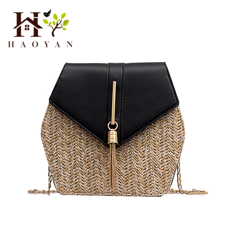 HAOYAN Variety Of Straw  Leather Shoulder Bag Female Summer Rattan Bag Bohemian Handbag Hand-Woven Beach Bag Tassel Packet