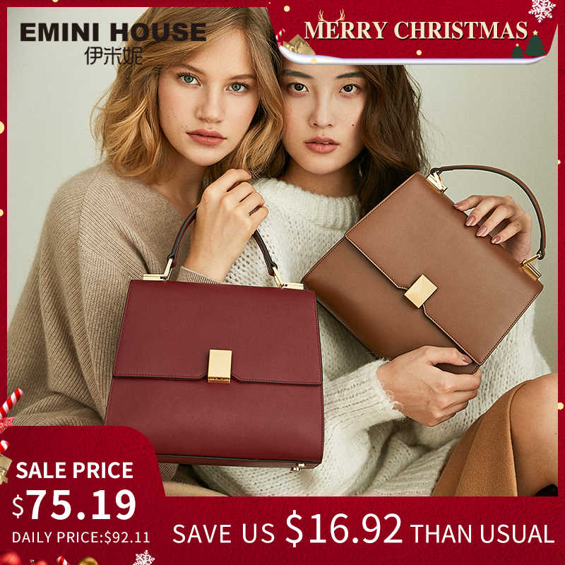 EMINI HOUSE Classic Padlock Handbag Luxury Handbags Women Bags Designer Split Leather Crossbody Bags For Women Shoulder Bag