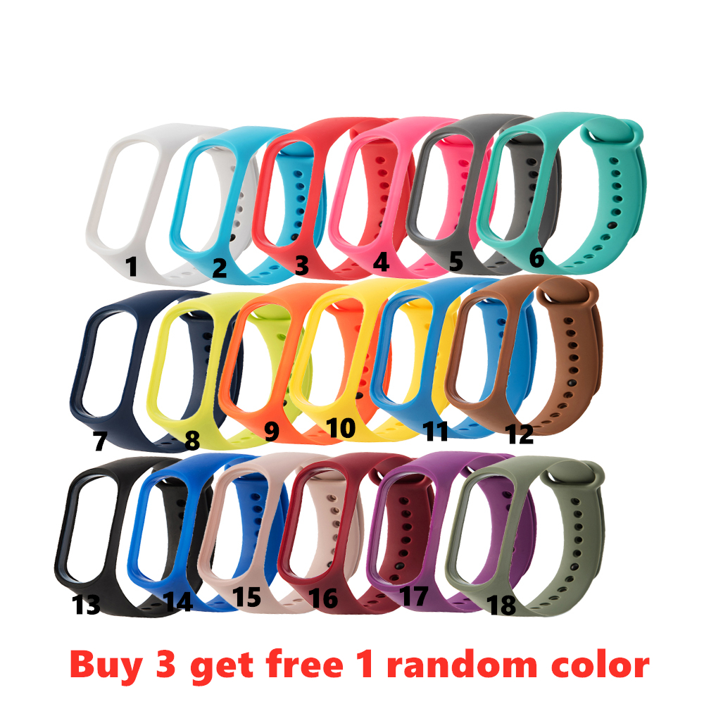 Colorful Silicone Watch Strap For Xiaomi Mi Band 4 Bracelet For M4 Or M3 Smart Watch Replacement Wristband For Mi Band 4 Strap