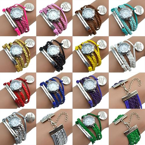 Vintage Women Watches Retro Eight Love Heart Charm Wristwatches Faux Leather Band Braid Bracelet Wrist Watch Ladies Watches