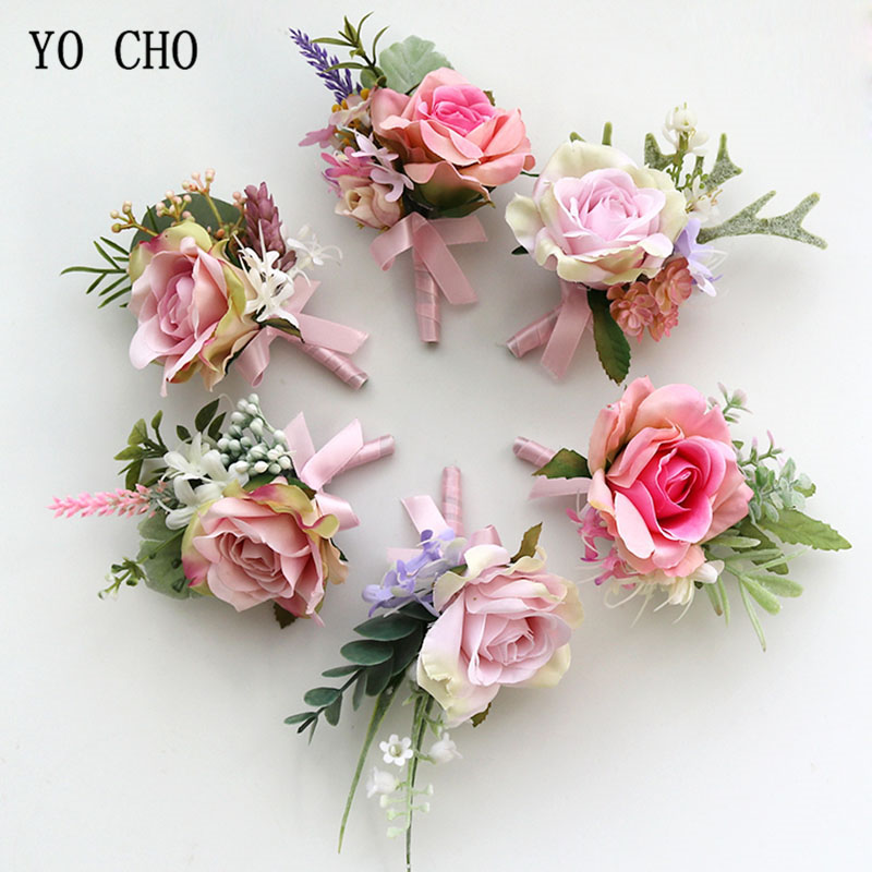 YO CHO Artificial Flower Groomsmen Corsage Pins Flowers Wedding Corsage For Prom Pink Rose Groom Boutonniere Men Wedding Flowers