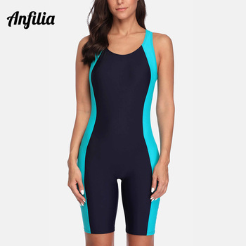 Anfilia One Piece Women Pro Sports Swimwear Boyleg Knee-length Sport Swimsuit Patchwork Bikini Beach Wear Bathing Suit 1