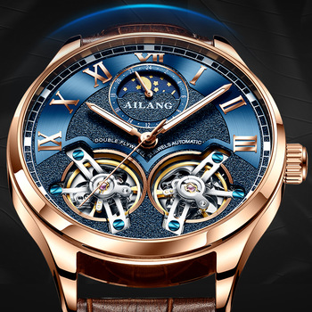 AILANG Original design watch men's double flywheel automatic mechanical watch fashion casual business men's clock Original 2