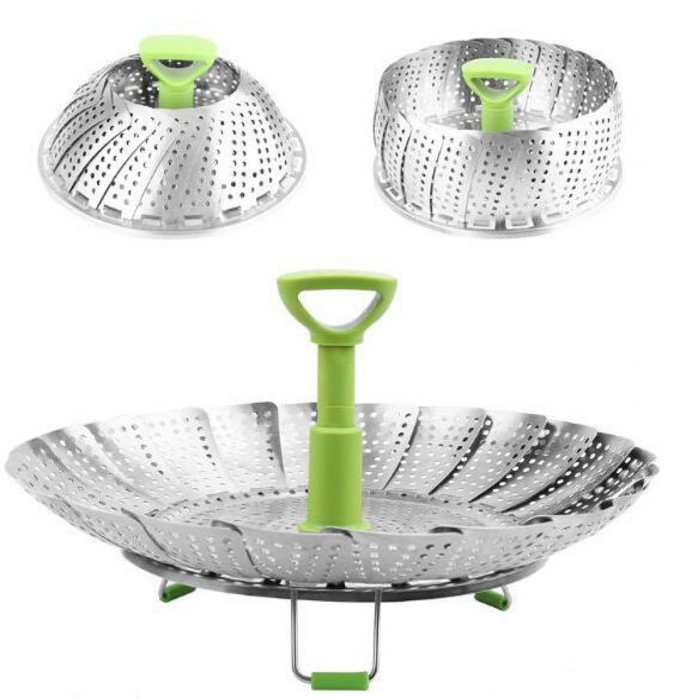 2019 Dish Steamer Cookware Steaming Food Basket Mesh Stainless Steamer Folding Food Fruit Vegetable Vapor Cooker Stainless 5