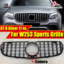 Fits For Mercedes W253 Front Grille grill GTS style ABS gloss Silver With Camera GLC class GLC250 GLC350 GLC400 look grills 17+
