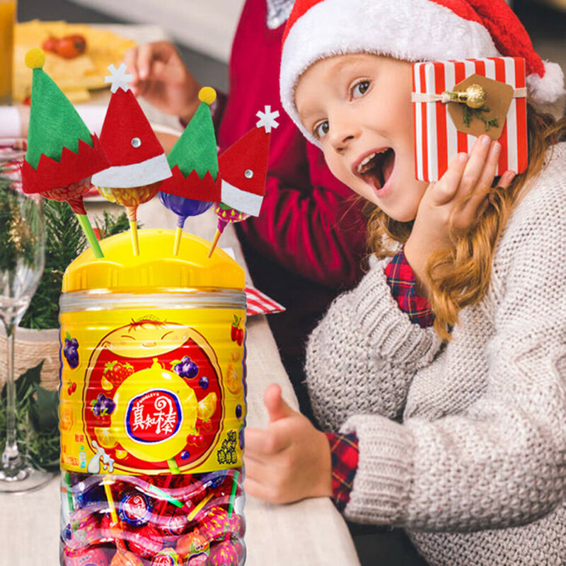 10pcs Small Mini Lollipop Christmas Hat Candy Santa Claus Cap Decoration Party Xmas Hat Kids Toy