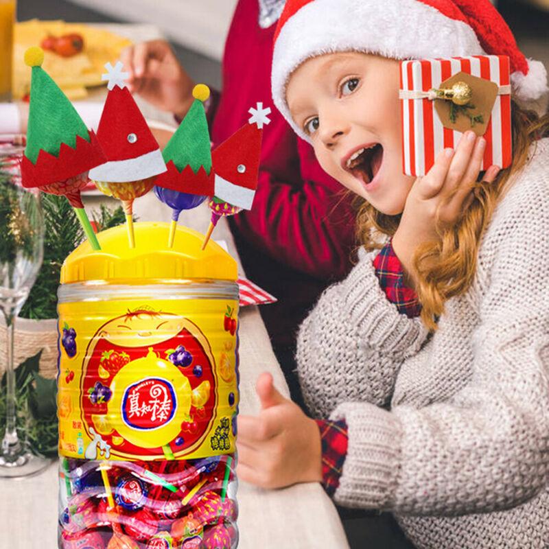 10pcs Small Mini Lollipop Christmas Hat Candy Santa Claus Cap Decoration Party Xmas Hat Kids Toy