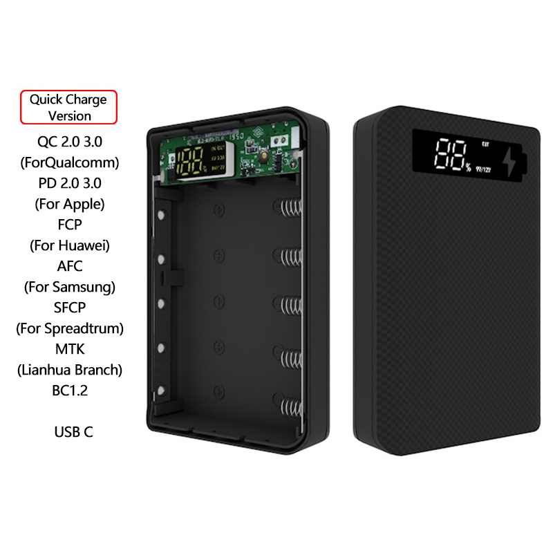 5*18650 Power Bank Case Dual USB With Digital Display Screen Mobile Phone Charger DIY Shell 18650 battery Holder Charging Box