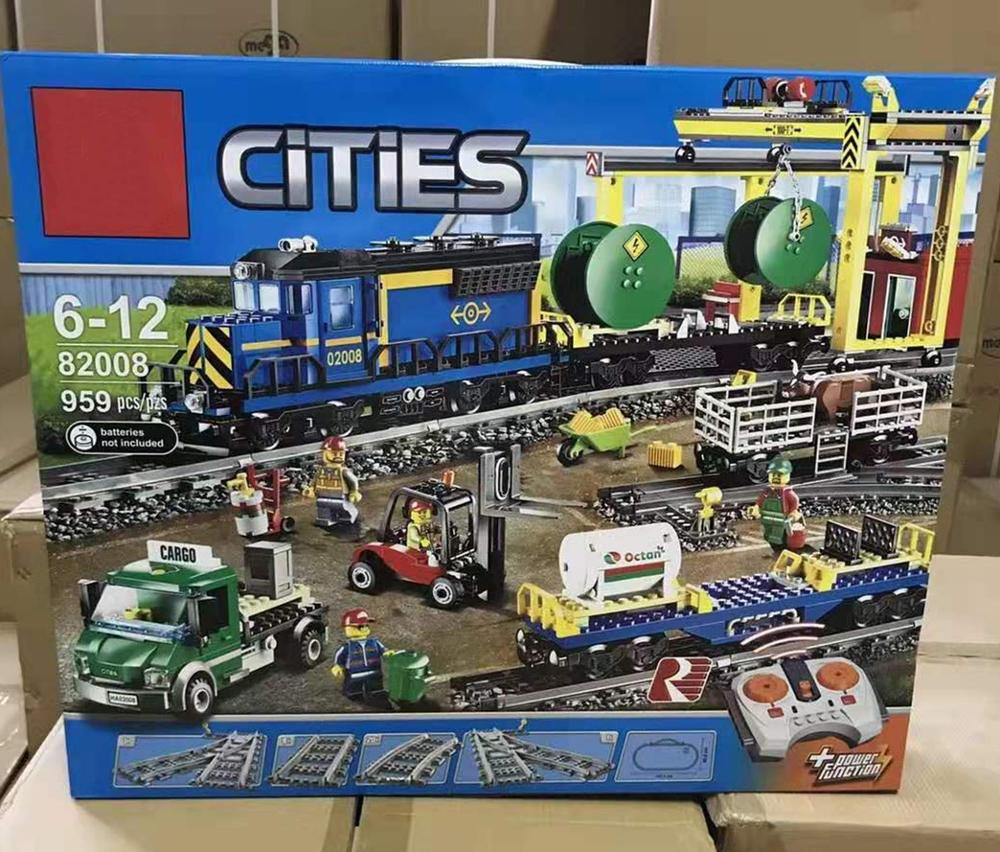 IN STOCK 02008 Cargo Train Compatible with Iegoset 60052 city Building Block Model building Train Rail Train toys gifts lepinbricks image