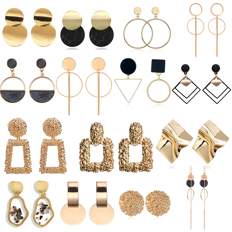 Fashion Statement Earrings 2020 Large Geometric Round Earrings For Women Hanging Swing Earrings Modern Female Earrings Jewelry