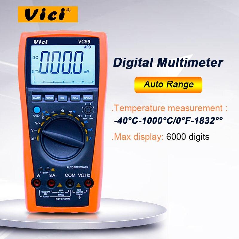 Vici vc99 3 6/7 multímetro digital de escala automática 1000 v 20a dc tensão ac resistência atual capacitância tester