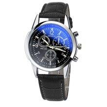 ساعة رجالي بلوراي زجاج حزام جلد رجالي ساعات جنيف الأعمال ساعة اليد Relogio Masculino هدايا المناسبات للزوج