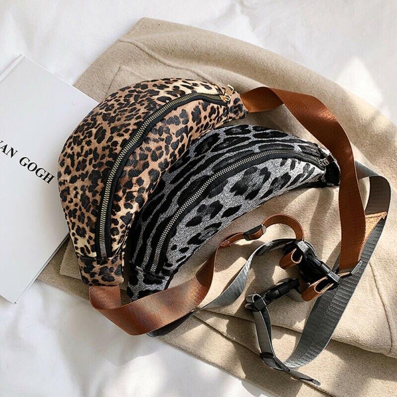 2019 New Women Waist Fanny Pack Leopard Belt Chest Bag Pouch Travel Hip Bum Bag Chain Waist Small Purse