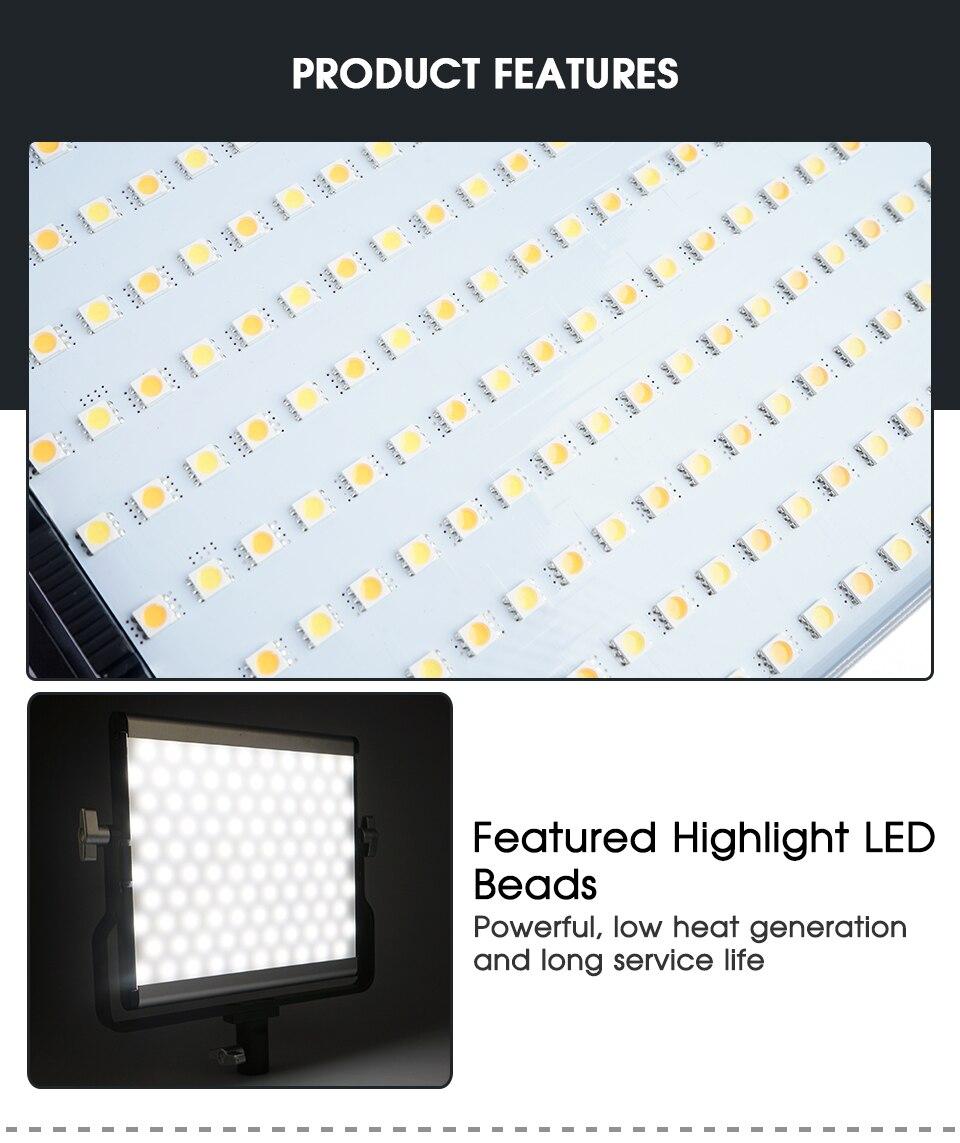 Ha175c93da4834dbbac406f804e6315d1T Travor Dimmable Bi-color 2set LED Video Light Kit with U Bracket 3200K-5600K CRI96 and Bag for Studio Photography Video Shooting