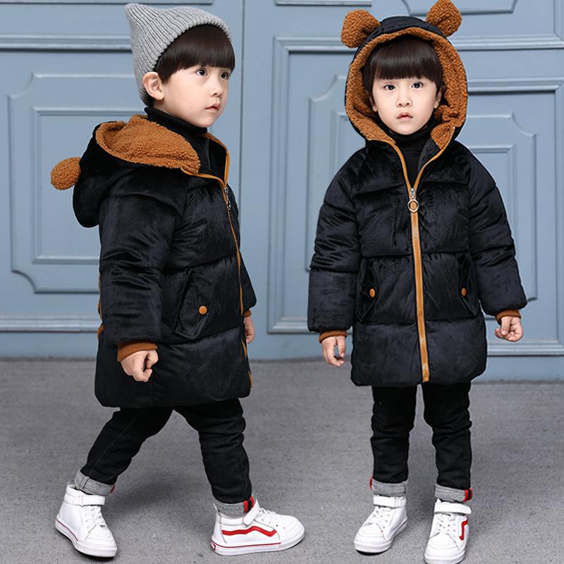 2018 New Korean CHILDREN'S Cotton-padded Jacket Men And Treasure Winter Children Ear Gold Velvet Cotton-padded Clothes Childrens