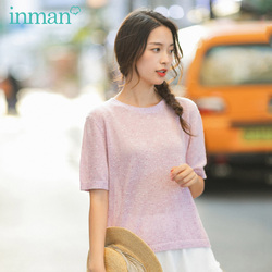 INMAN 2020 Spring New Arriavl Round Collar Elegant All-match Pure Color Short Sleeve Knitwear