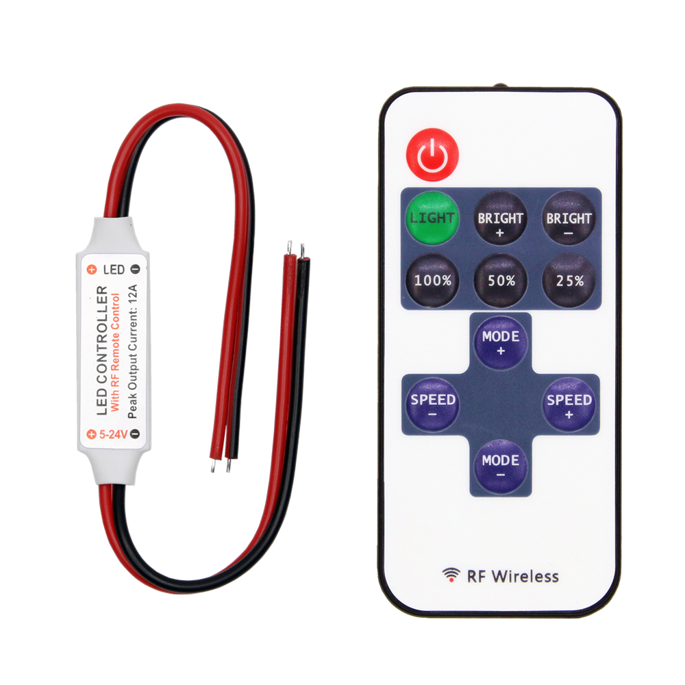 LED Strip Controller Mini Dimmer RF Remote DC 5V 12V 24V Controller For LED 5050 2835 Strip Single Color
