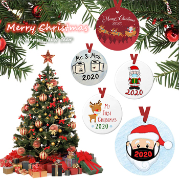 2021 Cute Santa Claus Handmade Family Xmas Tree Decoration Gifts Christmas Ornaments PET Hanging Ornaments 4in Snowman Elk Sled image