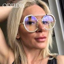 2020 Retro Diamante Occhiali Da Sole Rotondi di Modo Delle Donne Del Progettista di Marca Con Strass Occhiali Da Sole Delle Donne Specchio Della Lega Femminile Oculos De Sol