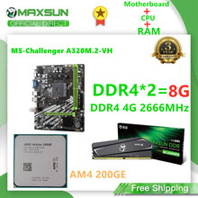 MAXSUN Motherboard AM4 A320M.2-VH Challenger AMD DDR4 4G 2666MHz Speicher Slots Rams CPU AM4 200GE HDMI + VGA mainboard für Desktop