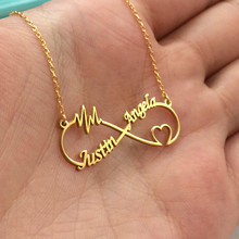 Boho Stainless Steel Customize Name Necklace Personalized Infinity Heart Double Nameplate Pendant Necklaces For Women Jewelry(China)