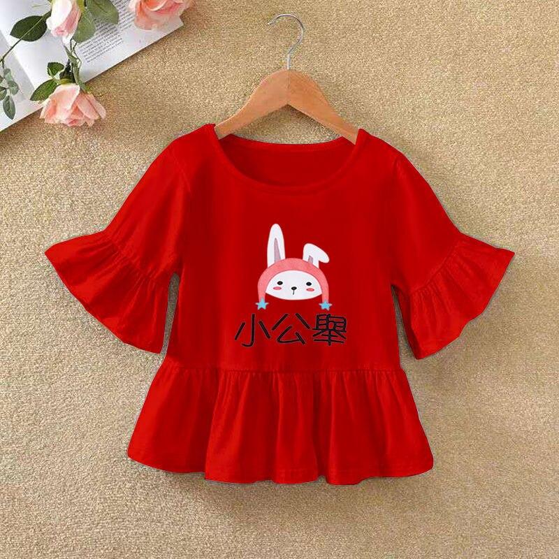 VIDMID 2021 Girls' Long Sleeve T-shirt O-neck Ruffle Cartoon Pattern Baby Girl Top T-shirt Autumn Children's Clothing P72 5
