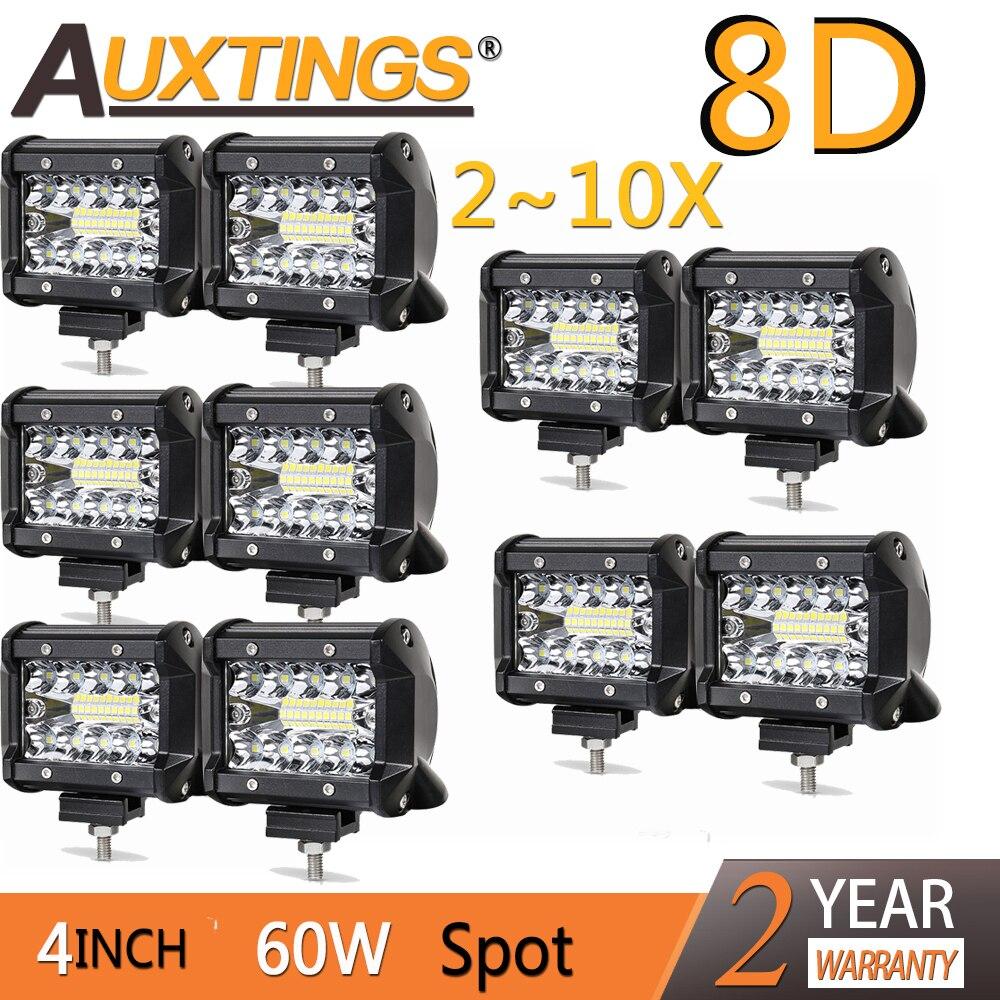 Auxtings Offroad 2~10X 8D 4INCH 60W LED Work Light Bar Spotlight Tri-row 12V 24V CAR Light TRUCK SUV ATV 4X4 4WD PICKUP DRIVING