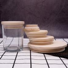 Wooden Jars Lids Silica Gel Circle Seal Up Cover Pine Wood Cover Flower Wood Cover Seal Up Canister Jars Cover candle jar
