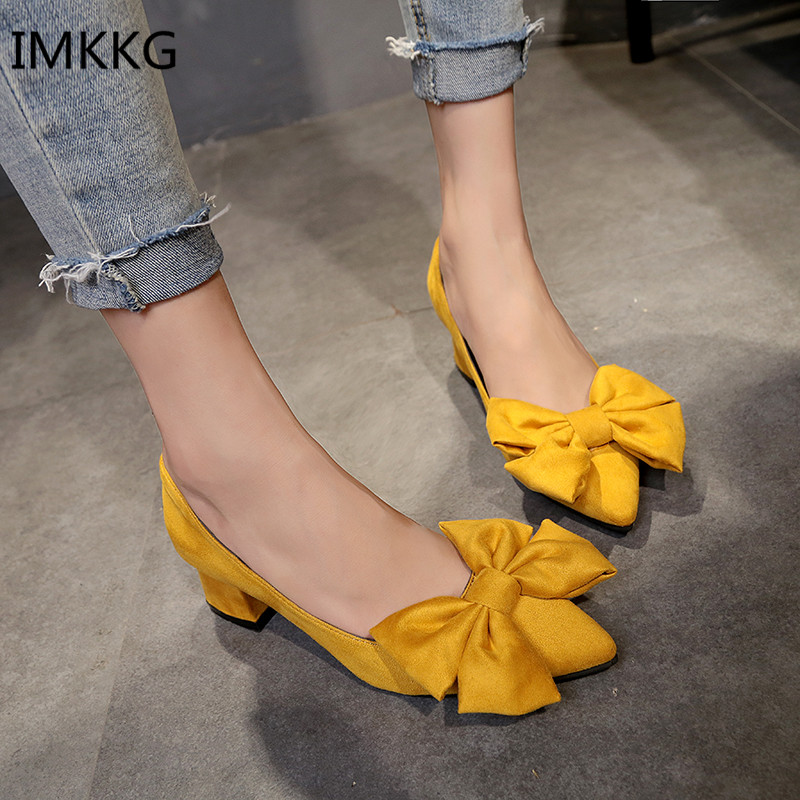 2018 Spring Autumn Pumps Shoes Med High Heel Pointed Toe Chunky Square Heel Slip On Pumps With Big Bow Sweet Women Shoes Q179