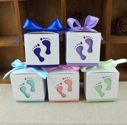 Mode bébé pied boîte à bonbons bébé douche papier doux sac empreintes sur la plage faveur boîtes baptême bonbons conteneur 50 pcs/lot