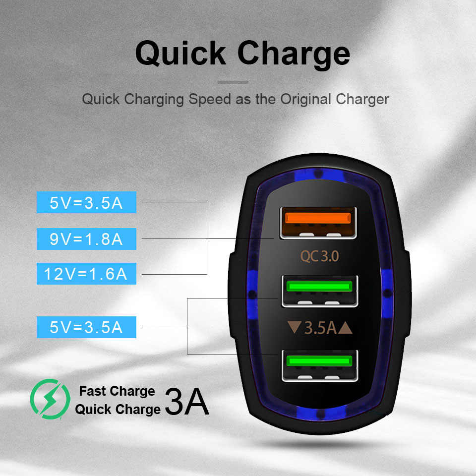 Qgeem Qc 3.0 3 Usb Autolader Quick Charge 3.0 3-Poorten Snelle Oplader Voor Auto Telefoon Opladen Adapter voor Iphone Xiaomi Mi 9 Redmi