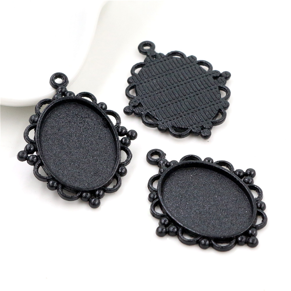 5pcs 18x25mm Inner Size Black Classic Style Cameo Cabochon Base Setting Charms Pendant Necklace Findings  (C1-08)