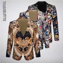 Vaguelette Velvet Luxury Printed Men Blazer Slim Fit Fashion Wedding Party Stage Clothing For Blazers Suit Dress Jackets 4XL