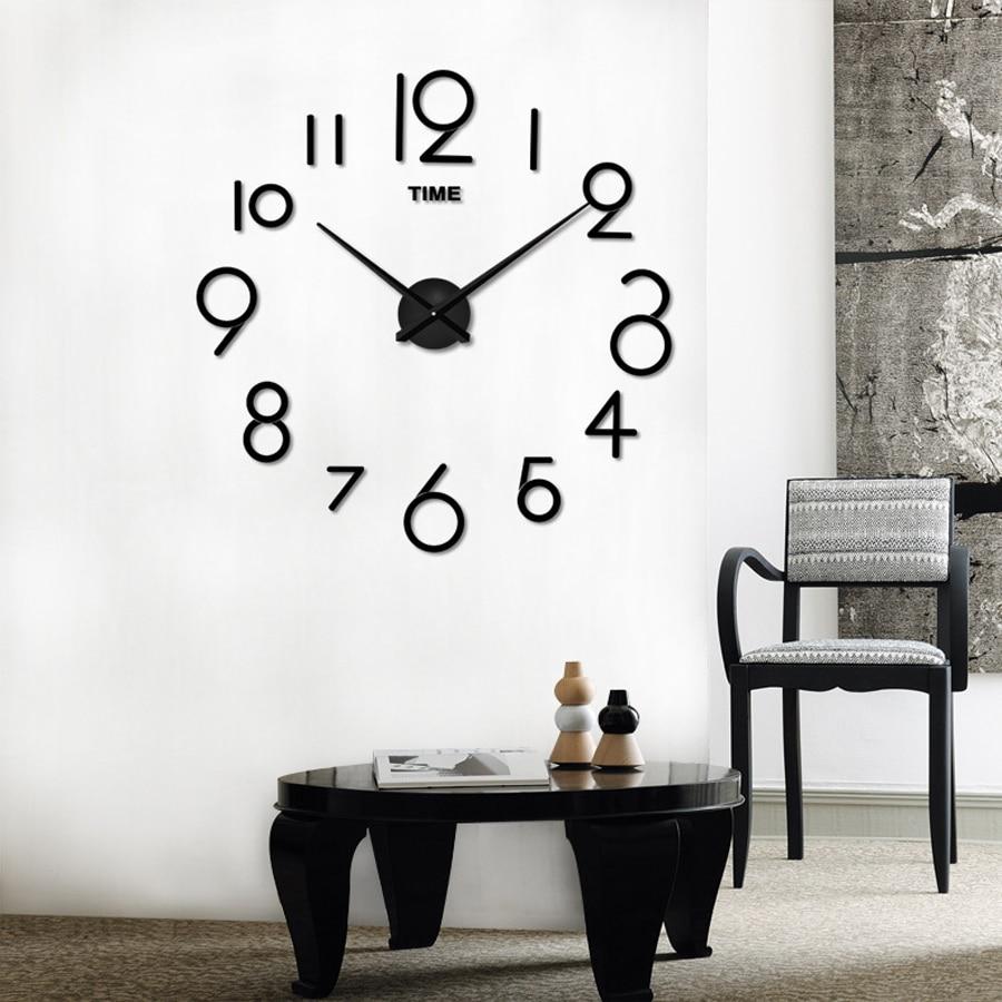 Large Wall Clock Modern Design DIY Clocks For Living Room Fashion Acrylic Mirror 3D Stickers Big Wall Watch Home Decor