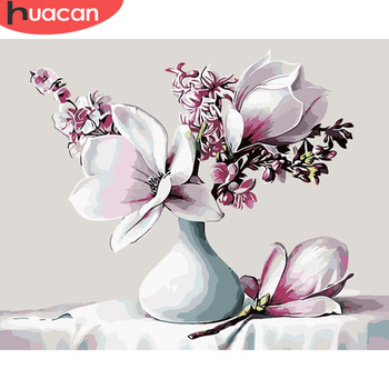 HUACAN Oil Painting By Number Flowers Drawing Canvas HandPainted Pictures By Numbers Flower Still Life Kits Home Decoration