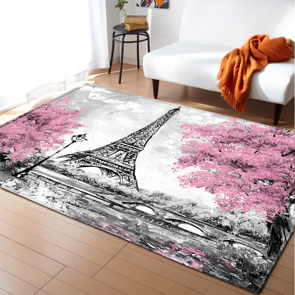 Nordic Big Area Rug Wedding Party Decoration Girls Bedroom Floor Mat Flannel Paris Tower Rug And Carpet For Home Living Room